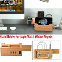 Wood Natural Bamboo Charging Dock Station Stand Holder For iPhone iWatch Airpods