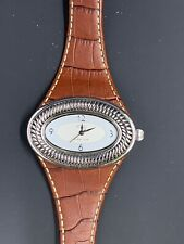 Ecclissi Watch Sterling Silver 925 Oval- Brown Leather Band
