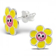 Childrens Girls Sterling Silver Yellow Flower with Smiley Face Ear Studs