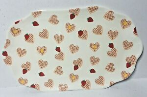 Opalhouse Melamine Oval Serving Tray Heart Waffles Strawberries Cream Color NEW!