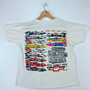 Chevrolet Thunder Vintage T-shirt Large White Formula 1 Racing Double Sided