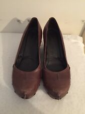 CLARKS Ladies Tan Leather Wedge Stud  Shoes Size 6