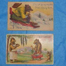 Lot of 2 Antique Teddy Bear Postcards! Divided Backs! Embossed!