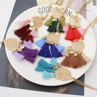 Women Boho Hollow Tassel Pendant Necklace Long Sweater Chain Fringe Jewelry JK