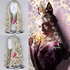 Movie Alice in Wonderland White Queen Wig Long Blonde Curly Cosplay Anime Wig