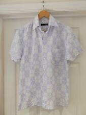 BHS Shirt White/Blue Patterned Smart/Casual Wear Short Sleeve Size Small 35-37""