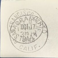 SACRAMENTO CANCELED OVER SAN FRANCISCO POSTMARK WITH STAMP ON COVER PIECE