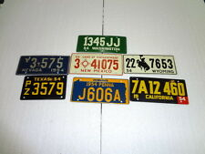 Cereal License Plates from 1954 Lot of 7