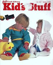 Kids Stuff Knitting & Crochet Booklet Cotton Sweaters, Moccasins, Jacket, Mobile