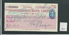 wbc. - CHEQUE - CH260 - USED -1940's - WESTMINSTER BANK, PICKERING