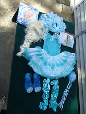 DISNEY FROZEN PRINCESS ELSA COSTUME DRESS LEGGINGS SHOES WAND WIG SHRUG DRESS UP