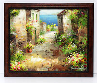 Italy Village Road Landscape 16 x 20 Oil Painting on Canvas w/Custom Frame