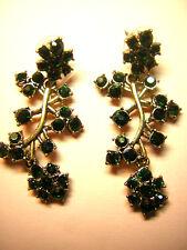 opulente Ohrhänger böhmische Kristalle Boho grün Zweige Cocktail Blume