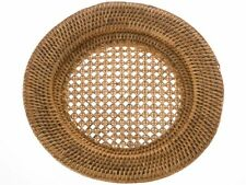 La Jolla Handwoven Round Rattan Charger Plate, 12.5 inch, Set of 2, Honey Brown