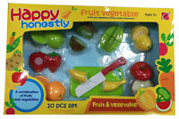 KIDS CHILDRENS ROLE PLAY PRETEND TOY 10 PC CUTTING FRUITS VEGETABLES