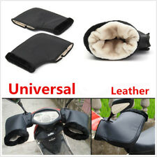 1 Pair Motorcycle Grip Muffs Black Faux Fur Leather Handle Bar Glove Winter Warm