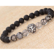 Men Fashion Black Lava Stone Silver Lion Beaded Cuff Charm Bangle Bracelet