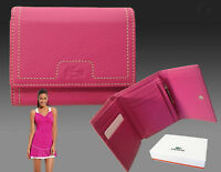 New Authentic Vintage LACOSTE Ladies Leather PURSE WALLET ID 2 Pink