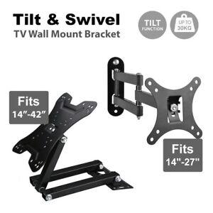 Tilt Swivel TV Wall Mount Bracket LCD LED Monitor 14,21,22,27 VESA 100