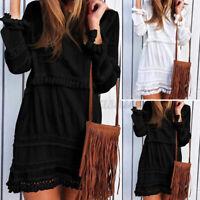 Women Summer Shirt Dress Solid Tassel Dress Holiday Party Dress Mini Short Dress