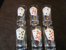 """Set 6 Glasses tumblers PLAYING CARD Suits Poker Party 4.75"""" 8 oz."""
