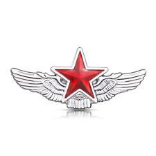 Red Star Wings Chrome Badge Car Auto Emblem Sticker Hood 3D Metal Window Styling