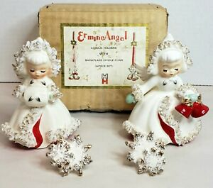 1958 Holt Howard Ermine Angel Candle Holders Snowflake Candle Rings Box