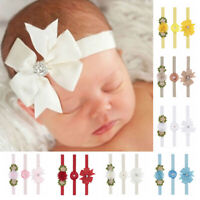 KM_ AU_ 3Pcs Newborn Baby Girls Faux Pearl Flower Headband Headwear Photo Prop