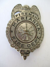 "Collectible Obsolete Fireman Badge Marianna, FL Fire Department 2.5"" x 1.75"""