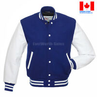 BLUE Wool Varsity Letterman Bomber Jacket WHITE Leather Sleeves, REMOVABLE LINER