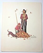 """Norman Rockwell Grandpa And Me Embossed Vintage Print 10"""" B&B USA Fall Leaves"""