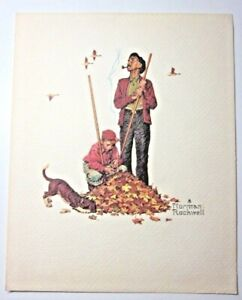 """B&B USA Norman Rockwell Grandpa And Me Embossed Vintage Print 10"""" Fall Leaves"""