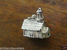 Vintage sterling silver STEEPLE BELL CHURCH 3D DETAILED BRACELET charm  #F