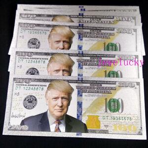 50 Pcs US President Trump $ 100 Dollar Silver Color Plastic Crafts Banknotes