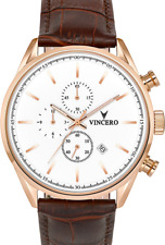 VINCERO Chrono S Luxury Men's Wrist Watch - Rose Gold + White + Croc Brown