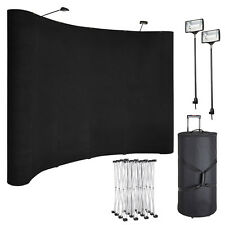 8ft Portable Display Trade Show Booth Exhibit Black Pop Up Kit W/Spotlights