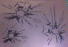NEW T8 AIRBRUSH STENCILS SHATTERED / BROKEN GLASS TEXTURE PLATE Craft Template