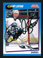 Grant Ledyard #401 signed autograph 1991-92 Score Hockey Canadian Release Card
