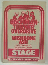 BACHMAN-TURNER OVERDRIVE / WISHBONE ASH - VINTAGE ORIGINAL 1970's BACKSTAGE PASS