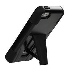 iPhone 5C - HARD & SOFT RUBBER HYBRID ARMOR IMPACT CASE COVER BLACK KICKSTAND