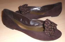 Hot Kiss Vesta flats brown fabric open toe 6.5 Med NEW