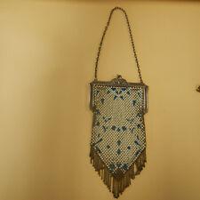 Antique Mandalian Mfg Co Art Deco Enameled Metal Mesh Purse Bag Flapper