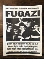 FUGAZI @ Country Club L.A. 1990 PUNK Concert FLYER W/Reason To Believe