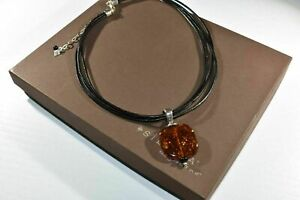 Silpada 925 Sterling Silver Amber Pendant Black Leather Necklace N1285