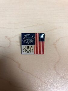 Athens 2004 Olympic Pin Tie Tack Lapel Olympic Rings USA FLAG Garland Wreath hat