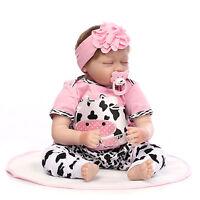 "Lifelike Reborn Baby Doll Newborn Handmade Soft Silicone Vinyl Sleeping Girl 22"""