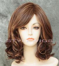 Medium Brown/Auburn Mix Shoulder Length Wavy Wig Noriko CARRIE in MARBLE BROWN