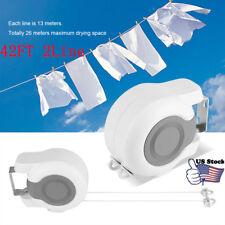 2 Line Retractable Clothes Line 42FT Reel  Dryer Laundry PVC Indoor Outdoor US