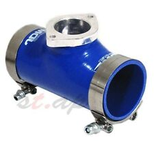 """JDM TYPE-RS TURBO BOV 2.5"""" REINFORCE SILICONE ADAPTER PIPE BLUE+ 2X T-BOLT CLAMP"""