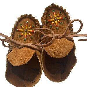 Suede Beaded Baby Moccasins